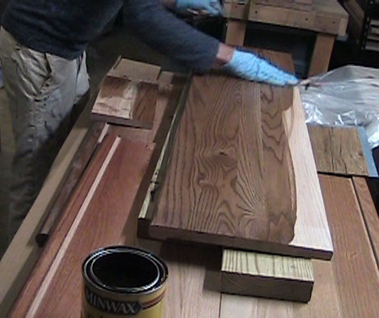 Applying Stair Tread Stain With a Rag