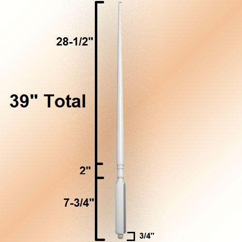 5015 Baluster Dimensions of 39 inch length
